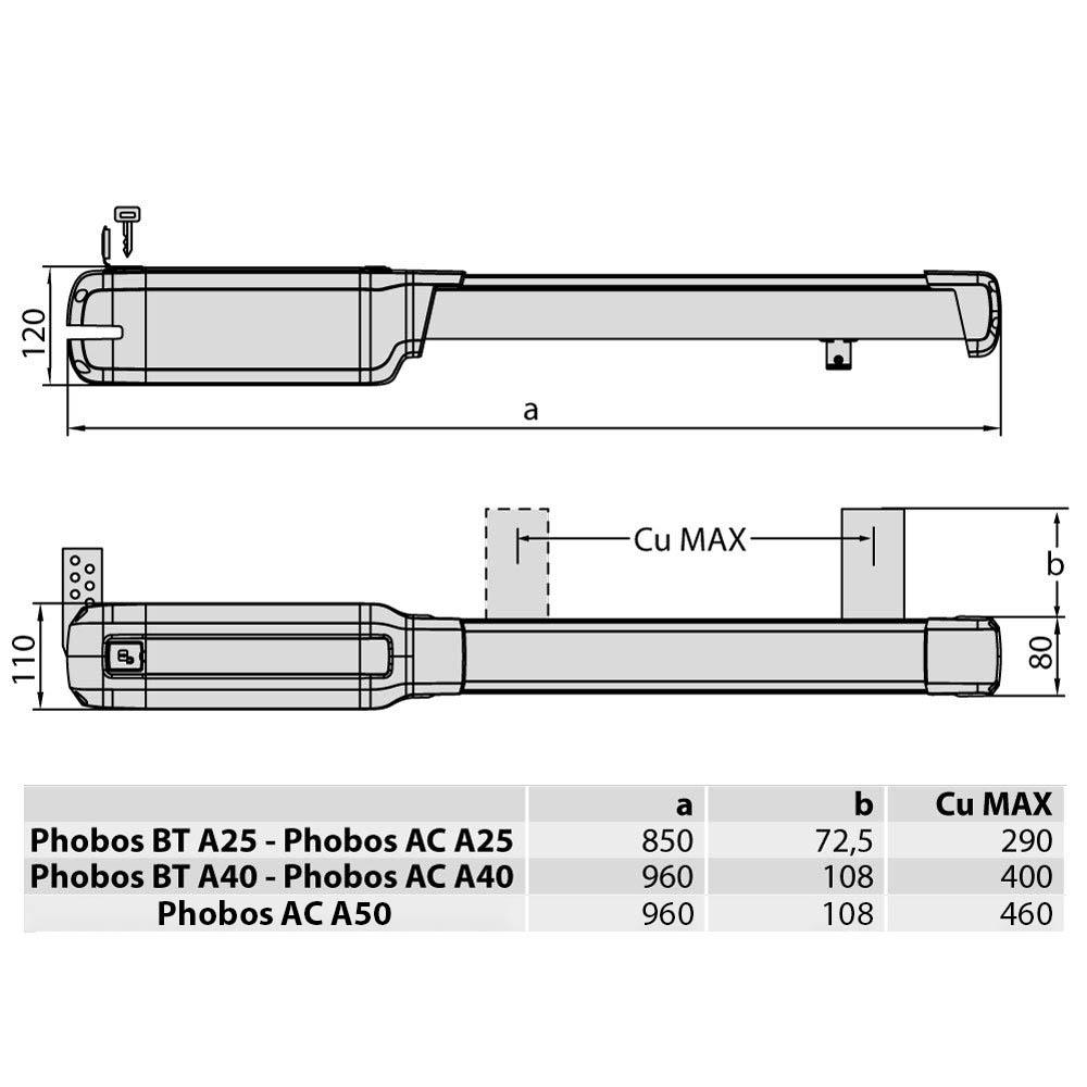Автоматика для распашных ворот BFT PHOBOS BT A40 KIT